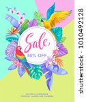 tropical hawaiian sale poster... | Shutterstock .eps vector #1010492128