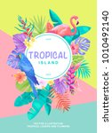 tropical hawaiian poster with... | Shutterstock .eps vector #1010492140