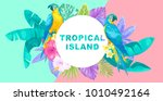 tropical hawaiian horizontal... | Shutterstock .eps vector #1010492164