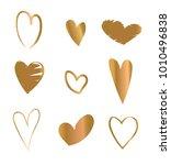 golden hearts. hand drawn... | Shutterstock .eps vector #1010496838