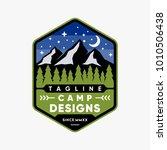 camping emblem logo design   Shutterstock .eps vector #1010506438
