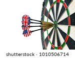 metal darts have hit the red... | Shutterstock . vector #1010506714