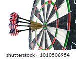Small photo of Metal darts have hit the red bullseye on a dart board. Darts Game. Darts arrow in the target center darts in bull's eye close up. isolated on white background.Success hitting