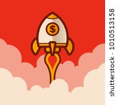 retro rocket space ship success ... | Shutterstock .eps vector #1010513158