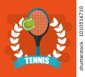 tennis racket and ball wreath... | Shutterstock .eps vector #1010516710