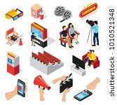 cinema 3d isometric set of... | Shutterstock . vector #1010521348