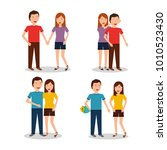set of of couples characters in ... | Shutterstock .eps vector #1010523430