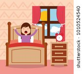 girl in bed waking up in the... | Shutterstock .eps vector #1010524540