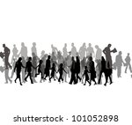 crowd of simple people | Shutterstock . vector #101052898
