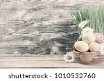 Easter Painted Eggs And Flower...