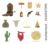 attributes of the wild west... | Shutterstock .eps vector #1010537590
