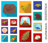different dinosaurs flat icons...   Shutterstock .eps vector #1010537614
