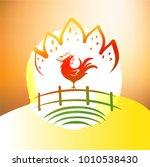 vector silhouette rooster on... | Shutterstock .eps vector #1010538430