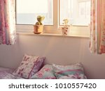 romantic pink bedroom interior... | Shutterstock . vector #1010557420