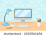 desktop with personal computer  ... | Shutterstock .eps vector #1010561656