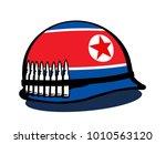 helmet with flag of north korea ... | Shutterstock .eps vector #1010563120