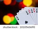 full house poker cards... | Shutterstock . vector #1010563690
