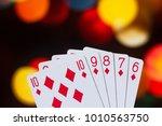 straight flush poker cards... | Shutterstock . vector #1010563750