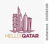 qatar city tower logo design... | Shutterstock .eps vector #1010565100