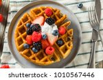 sweet homemade berry belgian... | Shutterstock . vector #1010567446