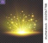 glow light effect. starburst... | Shutterstock .eps vector #1010567788