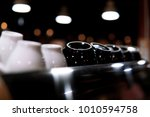 white and black coffee cups on... | Shutterstock . vector #1010594758