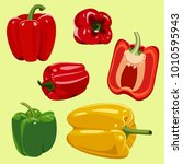 set of peppers | Shutterstock .eps vector #1010595943