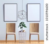 modern interior with chair.... | Shutterstock . vector #1010596600