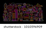 vibrant neon colors on a black... | Shutterstock .eps vector #1010596909