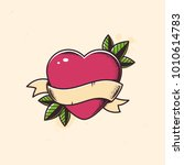 heart with blank banner tattoo... | Shutterstock .eps vector #1010614783