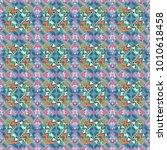vector seamless rhombus and... | Shutterstock .eps vector #1010618458