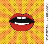 red lips. omg  pop art... | Shutterstock .eps vector #1010630590