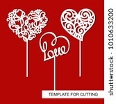 set of toppers.  hearts.... | Shutterstock .eps vector #1010633200