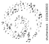 black flying musical notes... | Shutterstock .eps vector #1010633833