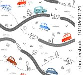 Stock vector seamless vector pattern with small cars and road signs on white background 1010640124