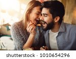 close up of a romantic young... | Shutterstock . vector #1010654296
