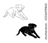 puppy contour and silhouette on ... | Shutterstock .eps vector #1010659843