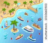 sea beach vacation isometric...   Shutterstock . vector #1010660503