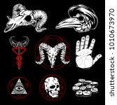 hand drawn esoteric emblems and ... | Shutterstock . vector #1010673970