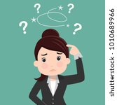 business woman is confused ... | Shutterstock .eps vector #1010689966