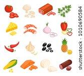 pizza ingredients icons set... | Shutterstock . vector #1010690584