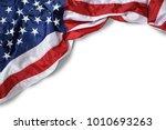 Closeup ruffled american flag...