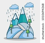winter mountains with pine... | Shutterstock .eps vector #1010694268