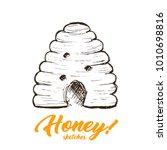 Honey Sketch Hive  Hand Drawn...