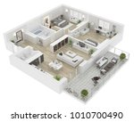 floor plan top view. apartment... | Shutterstock . vector #1010700490