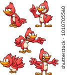 cartoon red bird in different... | Shutterstock .eps vector #1010705560