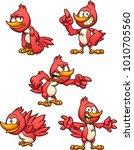 cartoon red bird in different... | Shutterstock .eps vector #1010705560