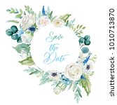 watercolor floral illustration  ... | Shutterstock . vector #1010713870