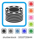 casino chip stack icon. flat...
