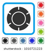 casino chip icon. flat gray...